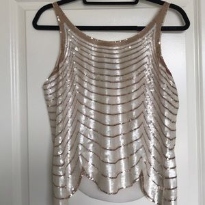 BCBG Pearl & Rose Gold Scalloped Sequin Top